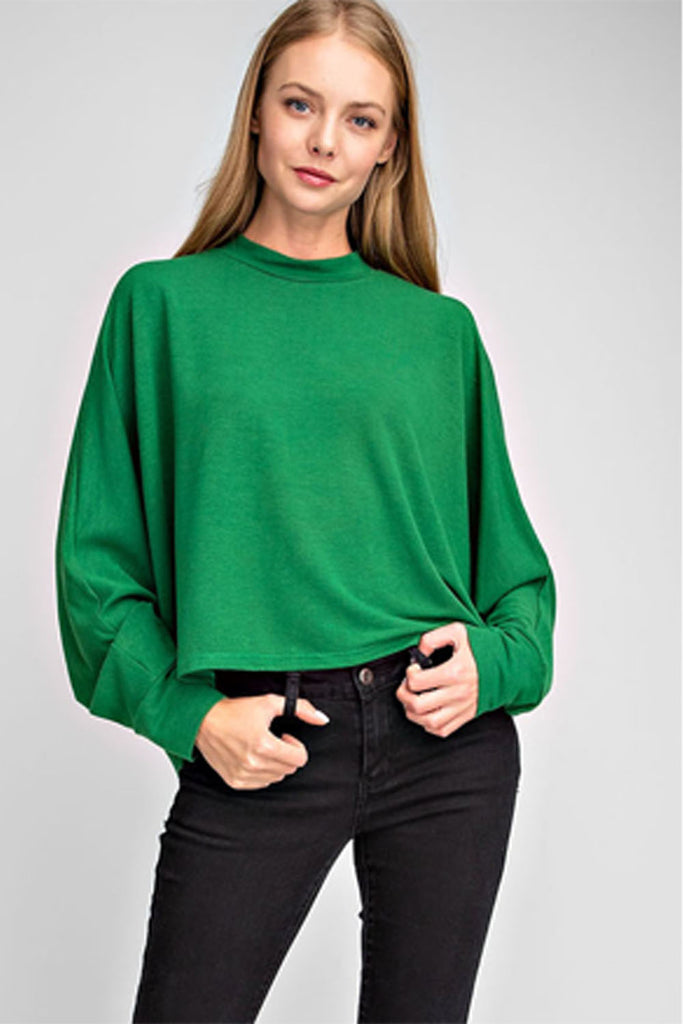 Crew Neck Long Sleeve Top - Green
