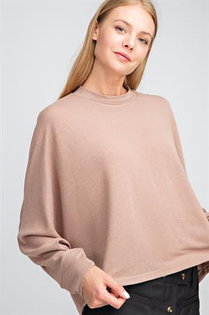 Crew Neck Long Sleeve Top - Tan
