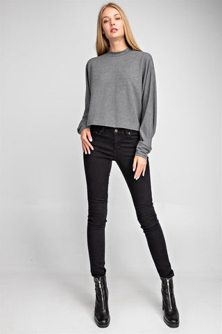Crew Neck Long Sleeve Top - Charcoal
