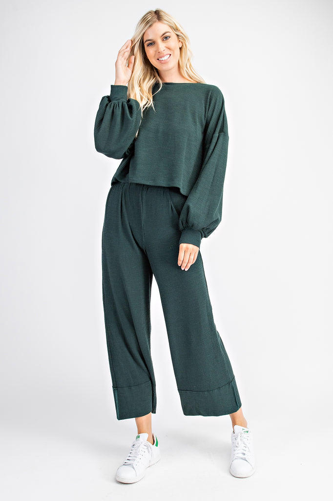 Ribbed Knit Pullover Lounge Set - Hunter Green