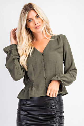 Buttoned Down V-Neck Blouse