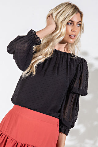Dot Puff Sleeve Top