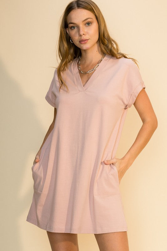 V-Neck Cuff Sleeve Mini Dress - Mauve