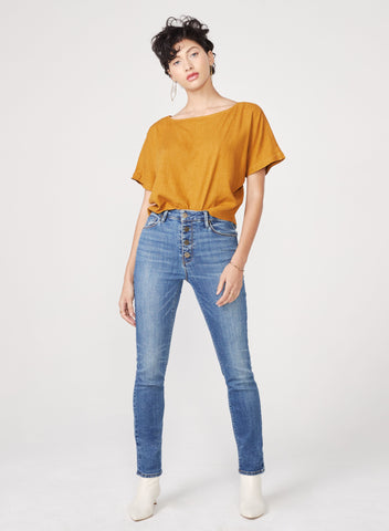 Joan Midsummer Exposed Button Denim