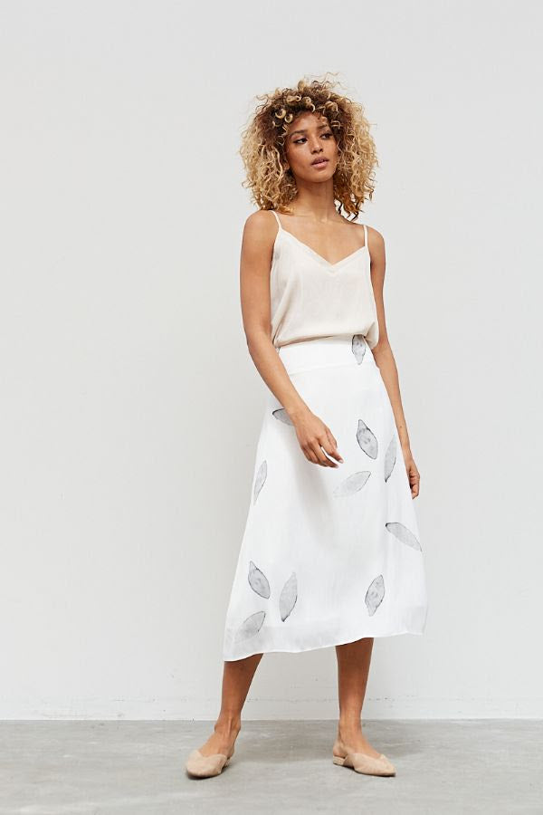 Satin Petal Print Slip Skirt - Off White