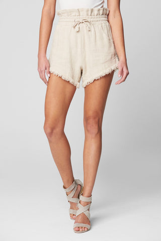 Textured Linen Elastic Waistband Short W/ Tie Belt + Frayed Hem