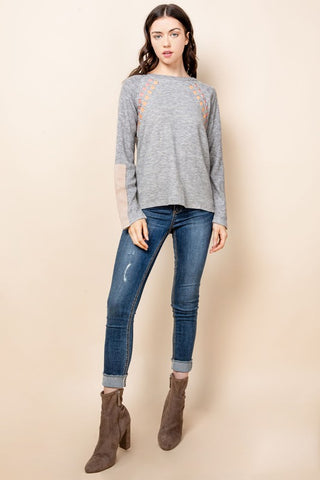 Sweater Top W/ Sleeve + Neck Detail