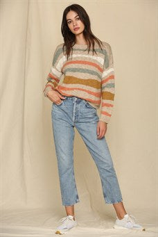 Long Sleeve Boat Neck Knit Sweater