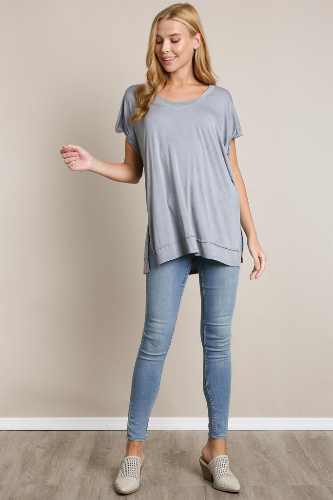 Mineral Washed Basic Top - Ash Grey