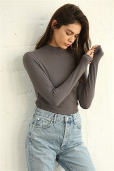 High Quality Seamless RIBBED Long Sleeve Mock-Neck Top - Charcoal