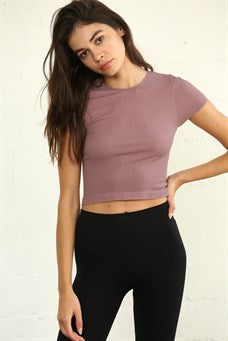 High Quality Seamless Ribbed Short Sleeve Crew Neck Top - Dusty Lilac