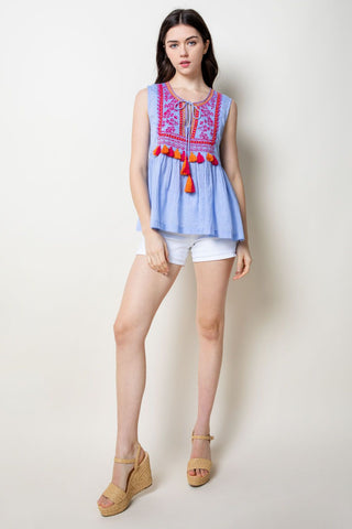 Sleeveless Embroidered Top With Tassels