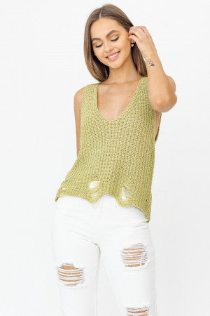 Distressed Detail Sleeveless Sweater Top