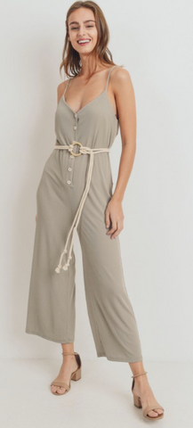 Ribbed Rope Belt Spaghetti Strap Jumpsuit