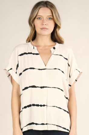 Business Casual Blurred Stripes Placket Neck Top