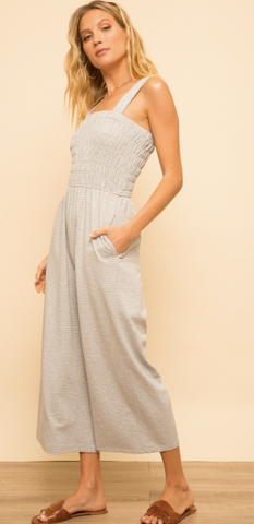 Smock Tube Stripe Wide Leg Jumpsuit