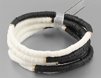 Rubber Bead Ribbon Bracelet - Black/White