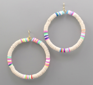 Rubber Bead Circle Earrings -Ivory/Multi