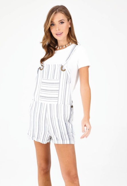 Main Shortalls - White/Blue Stripe