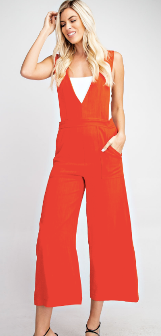 Double V-Neck Jumpsuit - Orange