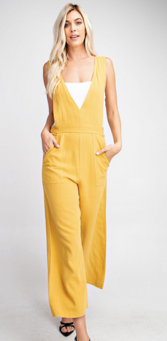 Double V-Neck Jumpsuit - Yellow
