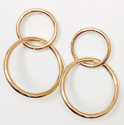 Double-circle metal earrings