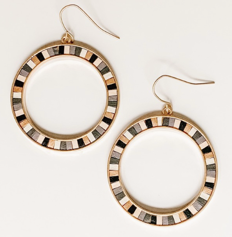 Leather striped dangle earrings