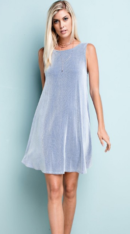 Round Neck Sleeveless Dress - Blue