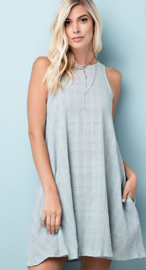 Grey Texture Round Neck Dress w/ Pockets