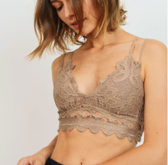 Double Strap Scalloped Lace Bralette - Dark Taupe