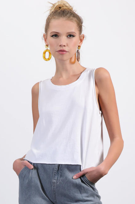 Washed Cotton Modal Jersey Tank - White