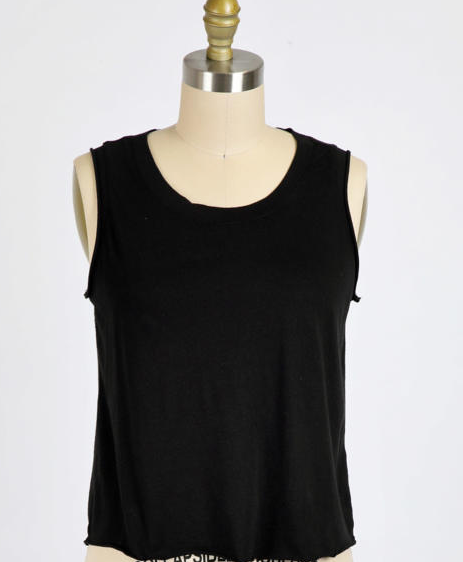 Washed Cotton Modal Jersey Tank - Black