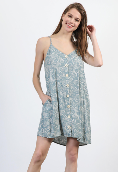 Wash Tropical Print Cami Dress