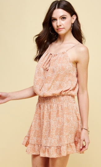 Elastic Waist Peach Cami Mini Dress