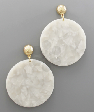 Marble Disk Earrings