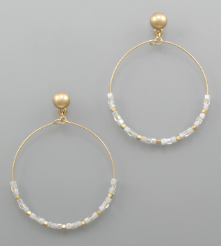 Cube Beaded Circle Earrings