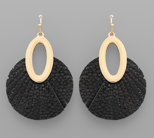 Oval Leather Disc Earrings