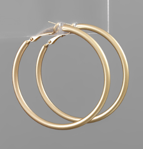50mm Worn Gold Hoops