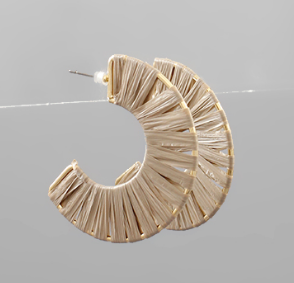 Raffia Wrapped Open Hoops