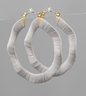 Raffia Wrapped Wavy Hoops