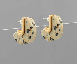 Stone Cut DIsc Earrings