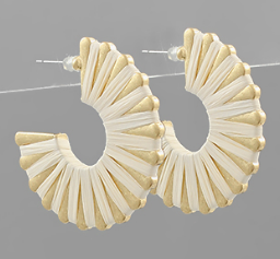 Raffia Wrapped Flat Hoops