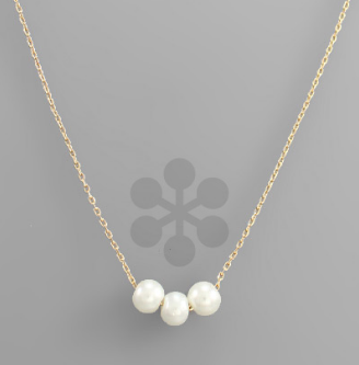 "16"" Triple 5mm Pearl Sliding/Chain Necklace"