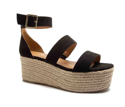 3 Band Flatform Sandal - Black