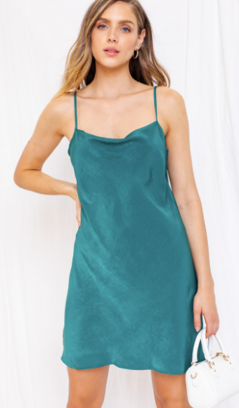 Cowl Neck Mini Cami Dress