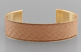 15mm Snake Skin Leather Cuff - Light Brown