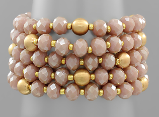 5 Row Bead Bracelet - Dusty Pink