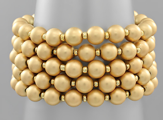 5 Row Metal Ball Bracelet - Matte Gold
