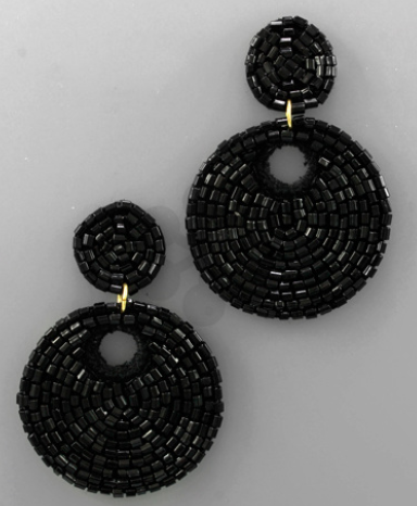 Seed Bead Double Circle Earrings