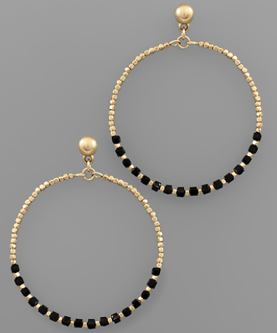 Half Beaded Circle Earrings